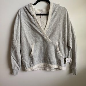 NWT Free People Gray Hooded Sweatshirt Size small